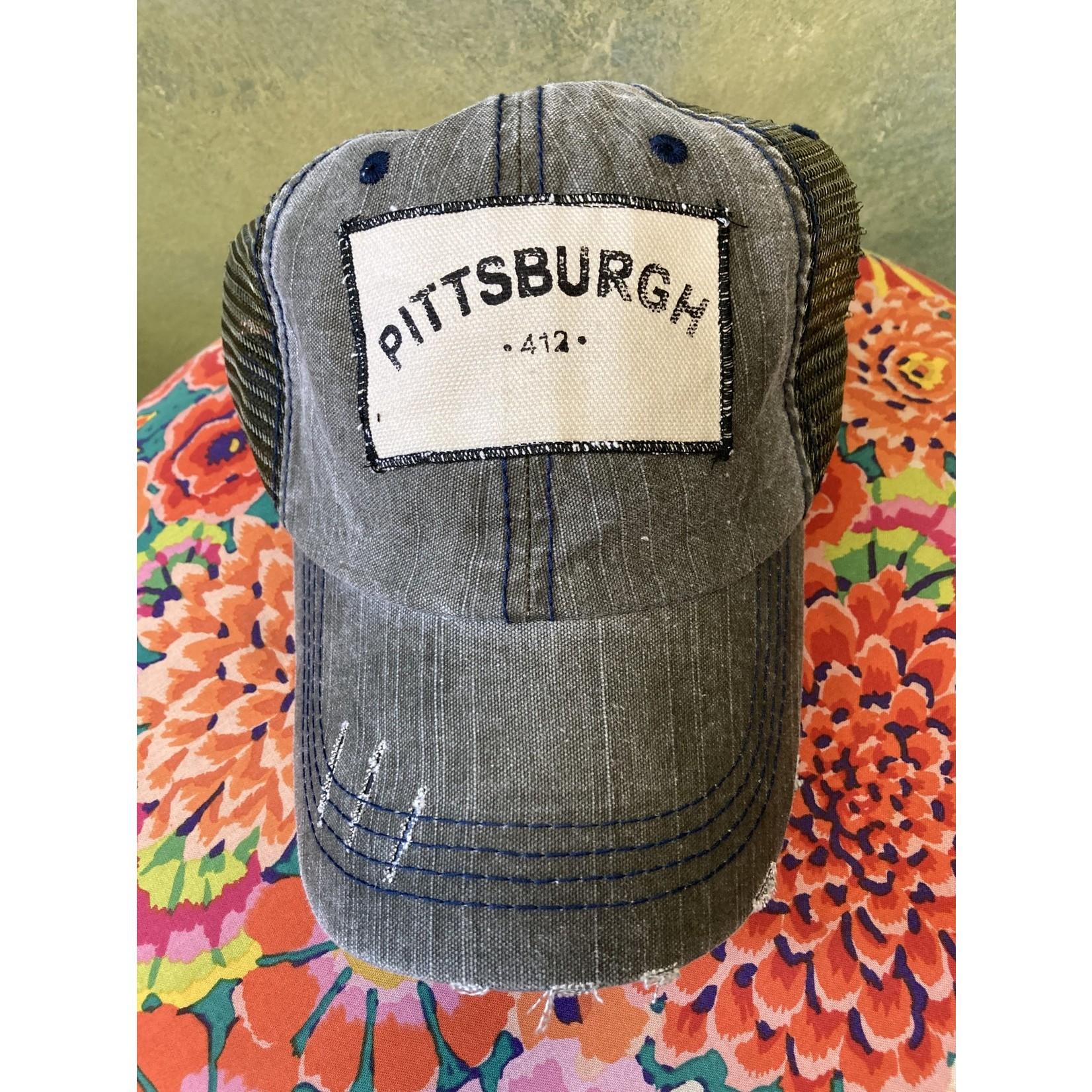 S & J Decor S & J Decor   Pittsburgh Trucker Hat - 412 denim with green mesh