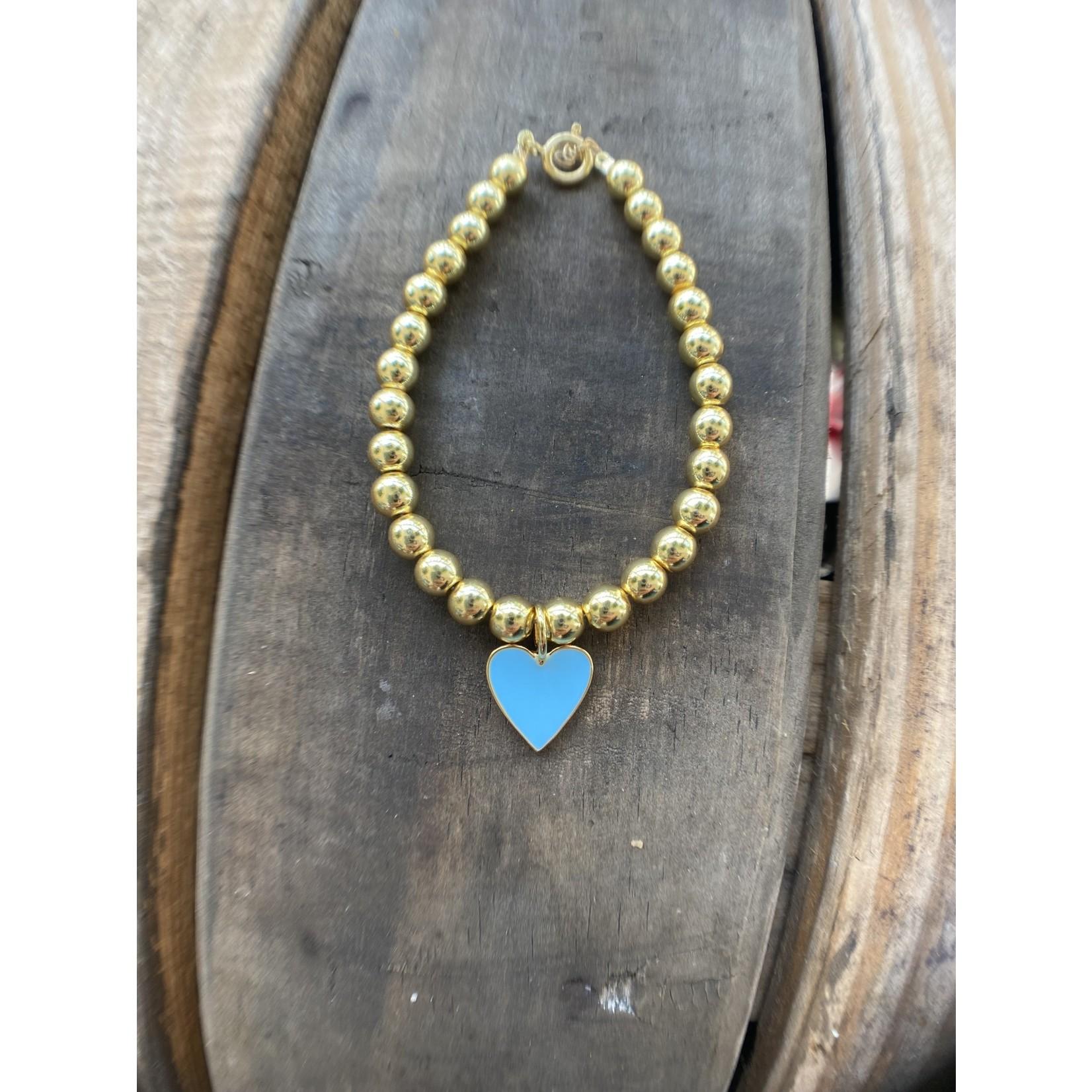 So Me So Me Designs  Heart of Ice: golden hematite beaded base with a light blue enamel heart pendant, bracelet