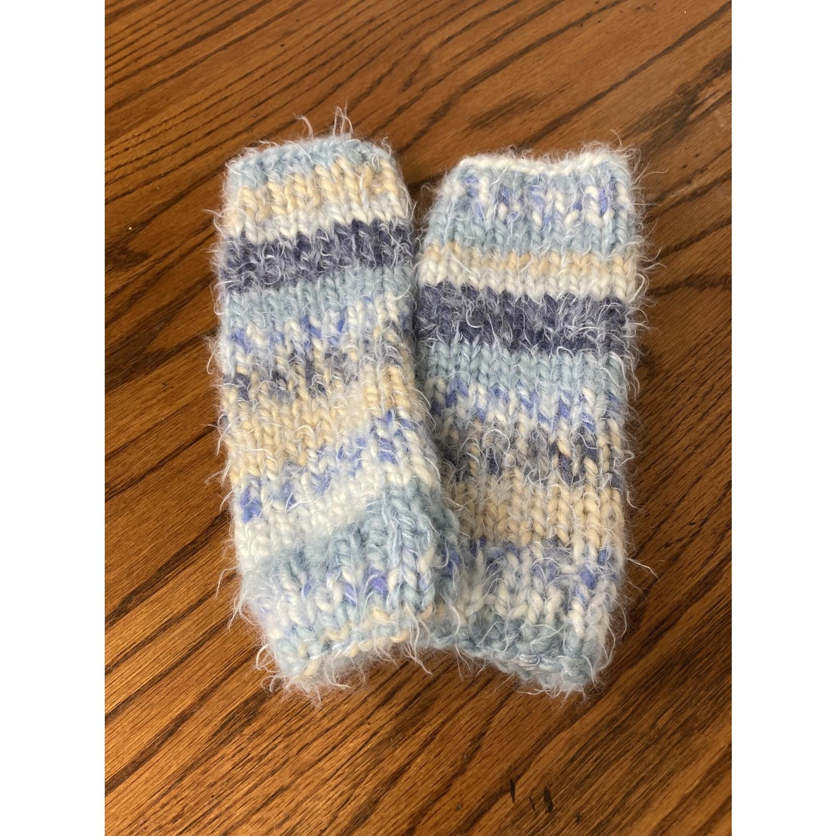 Amy Jonas Amy Jonas | Blue stripe (fluffy) fingerless gloves
