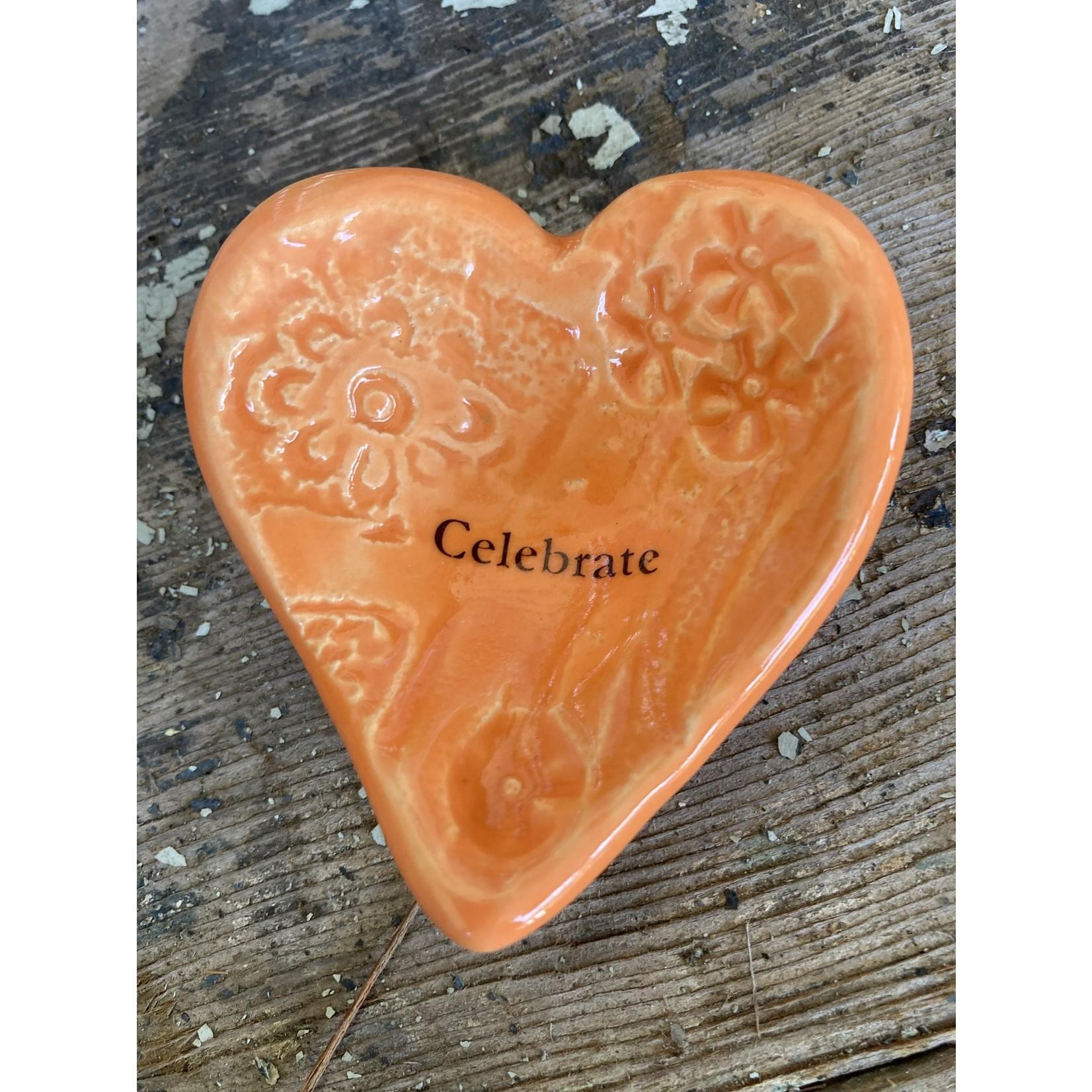 "Lorraine Oerth Lorraine Oerth Heart Bowl - ""celebrate"" orange"