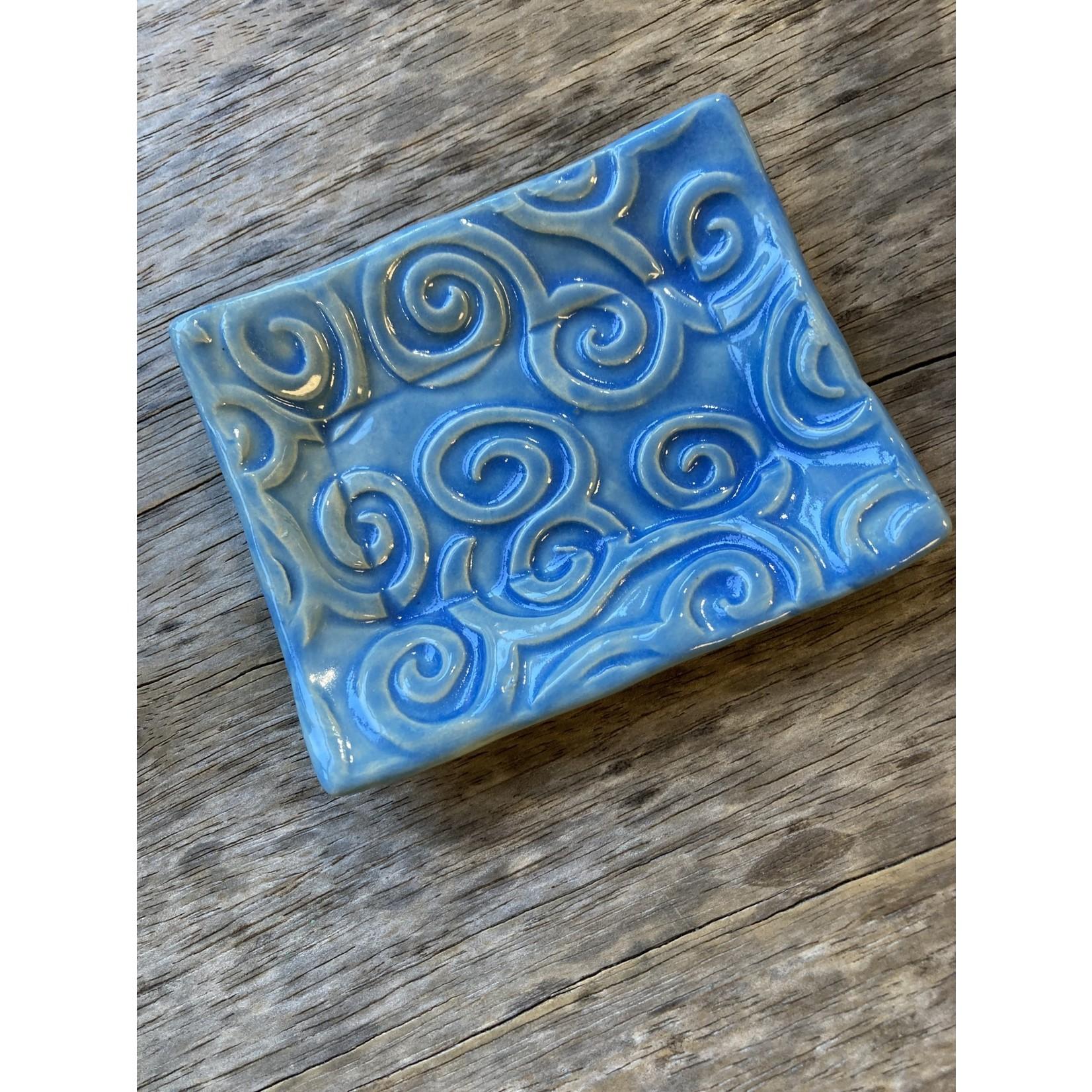 Lorraine Oerth Lorraine Oerth Soap Dish - Spiral Embossed Light Blue