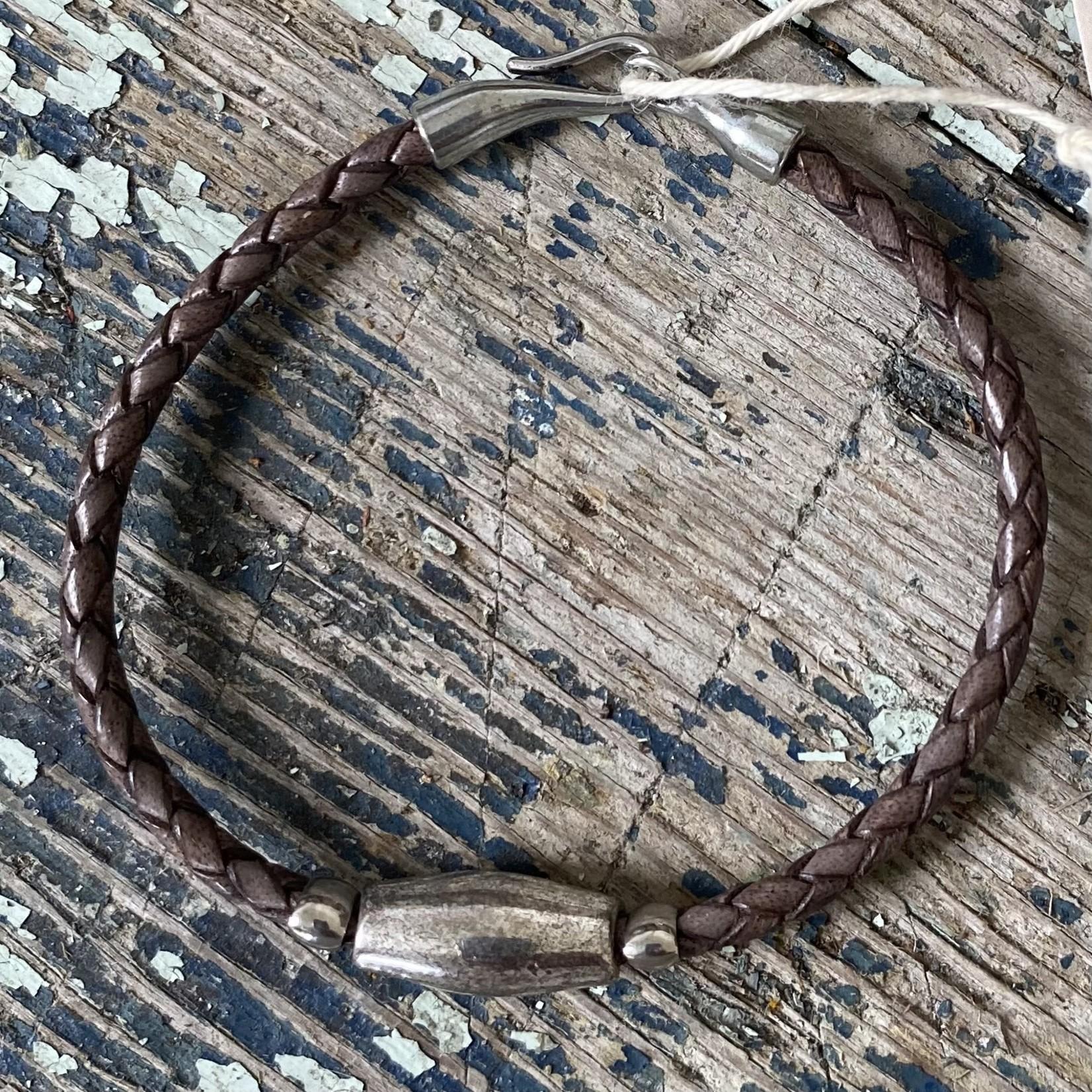 Julia Jones JMJ 921-57 Brown Braided Leather Bracelet -Silver Bead