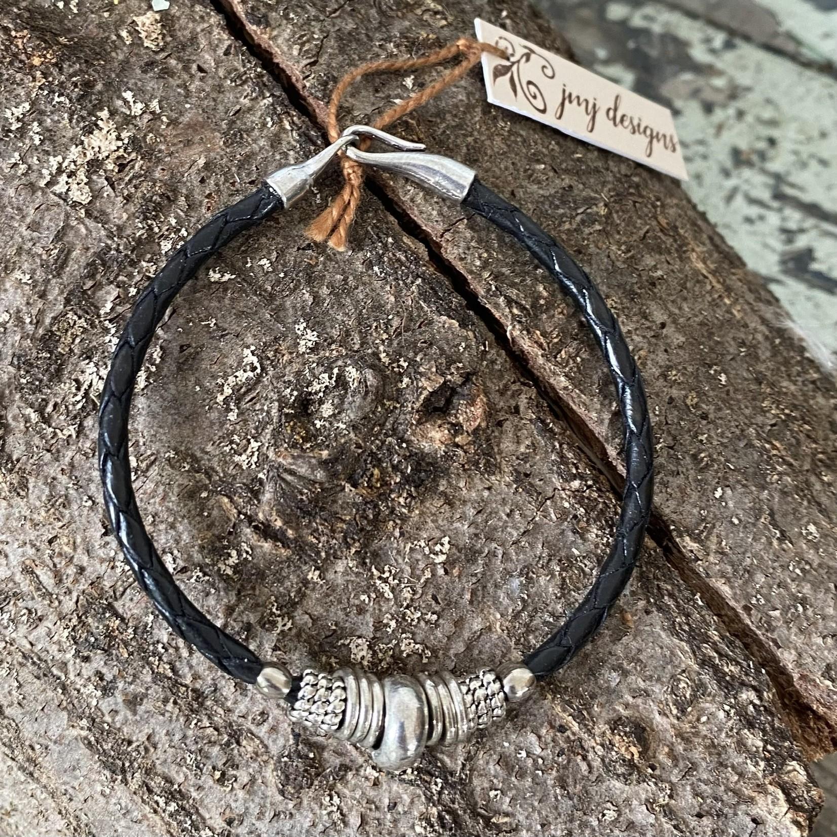 Julia Jones JMJ 921-60 Black Braided Leather Bracelet -Silver Rings