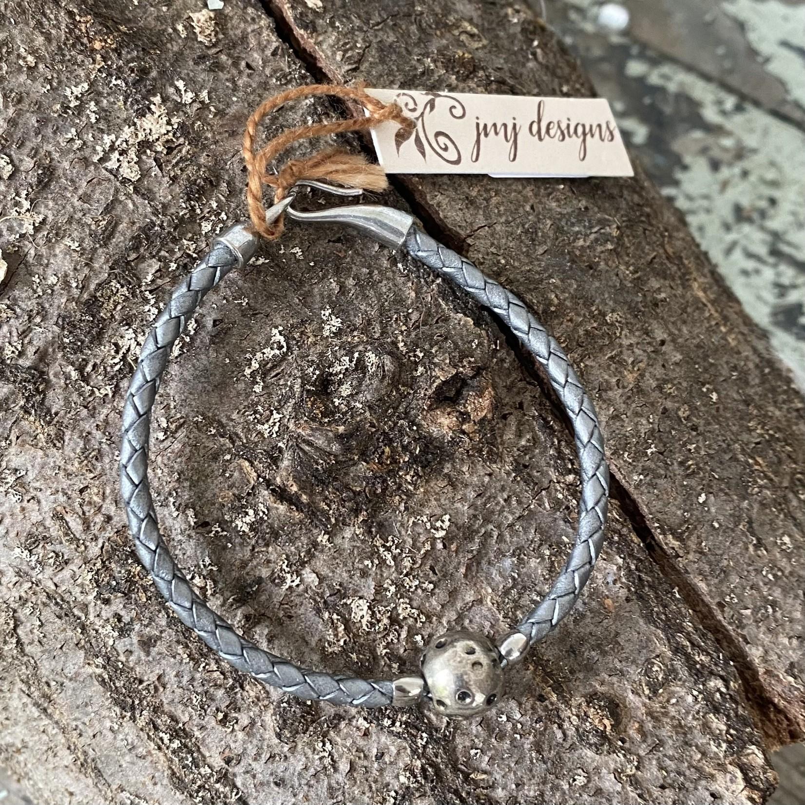 Julia Jones JMJ 921-55 Gunmetal Braided Leather Bracelet -Silver Sphere
