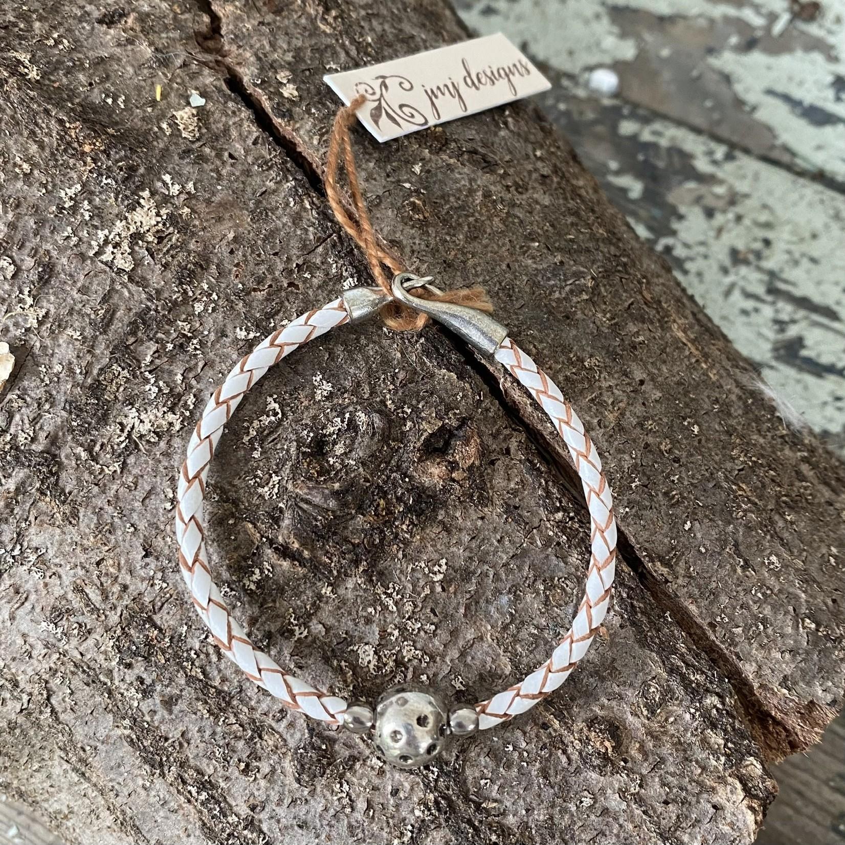 Julia Jones JMJ 921-54 Cream Braided Leather Bracelet -Silver Sphere