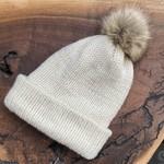 Karen Mangis Karen Mangis | Cream Knit Hat with Tassel