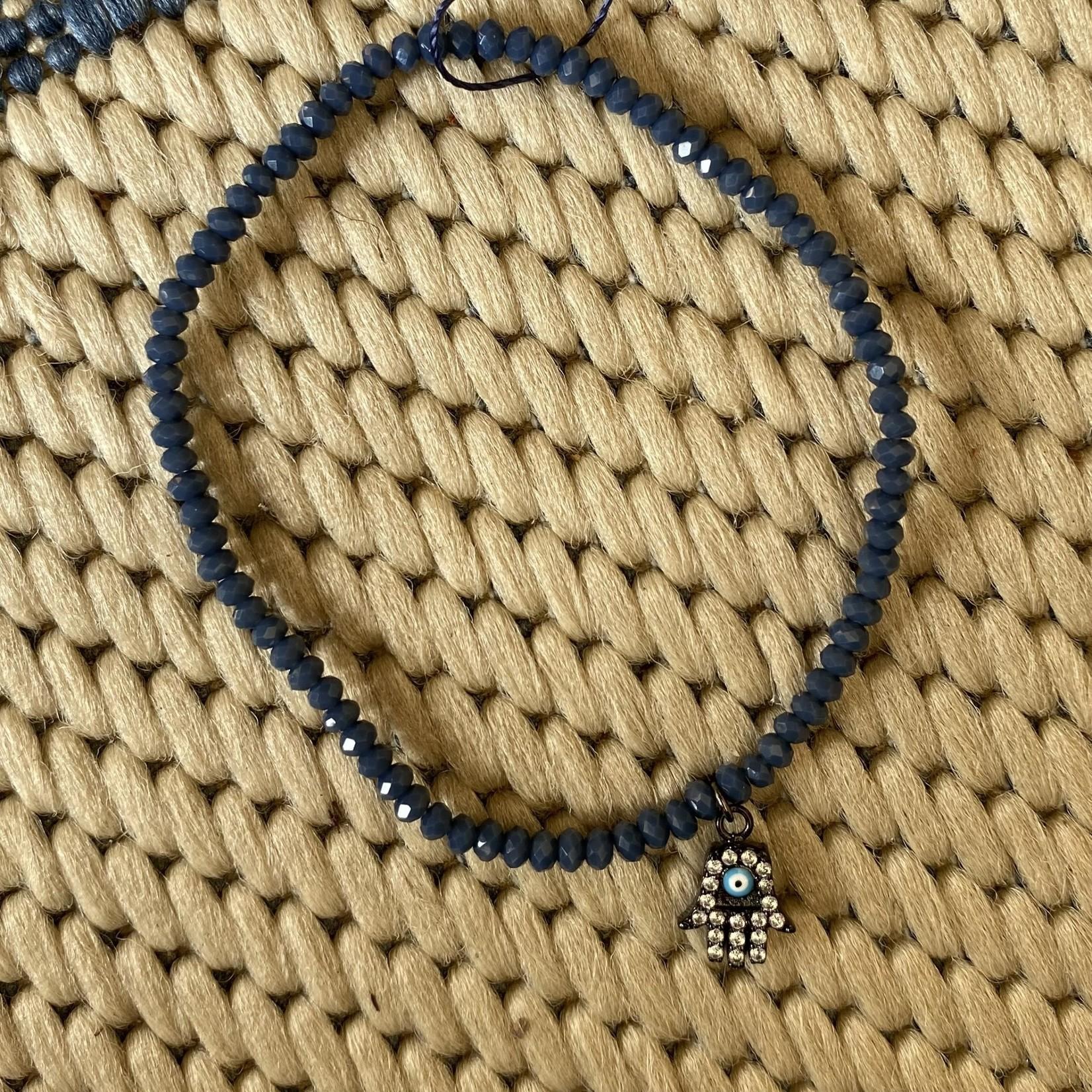 Maureen Oehrle Maureen Oehrle | B34 2x2 Grey Blue Crystal w/Hamsa Hand