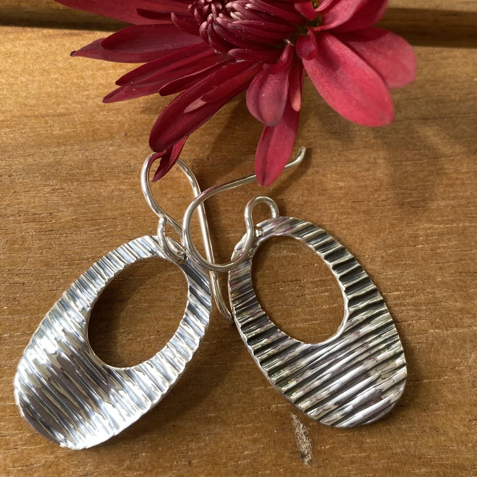 Silverheart Silverheart | E387 Sterling Textured Oval Hoop Earrings