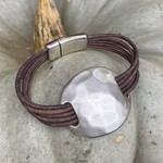 Allie Bonidy Allie B| Brown Leather bracelet with hammered silver circle