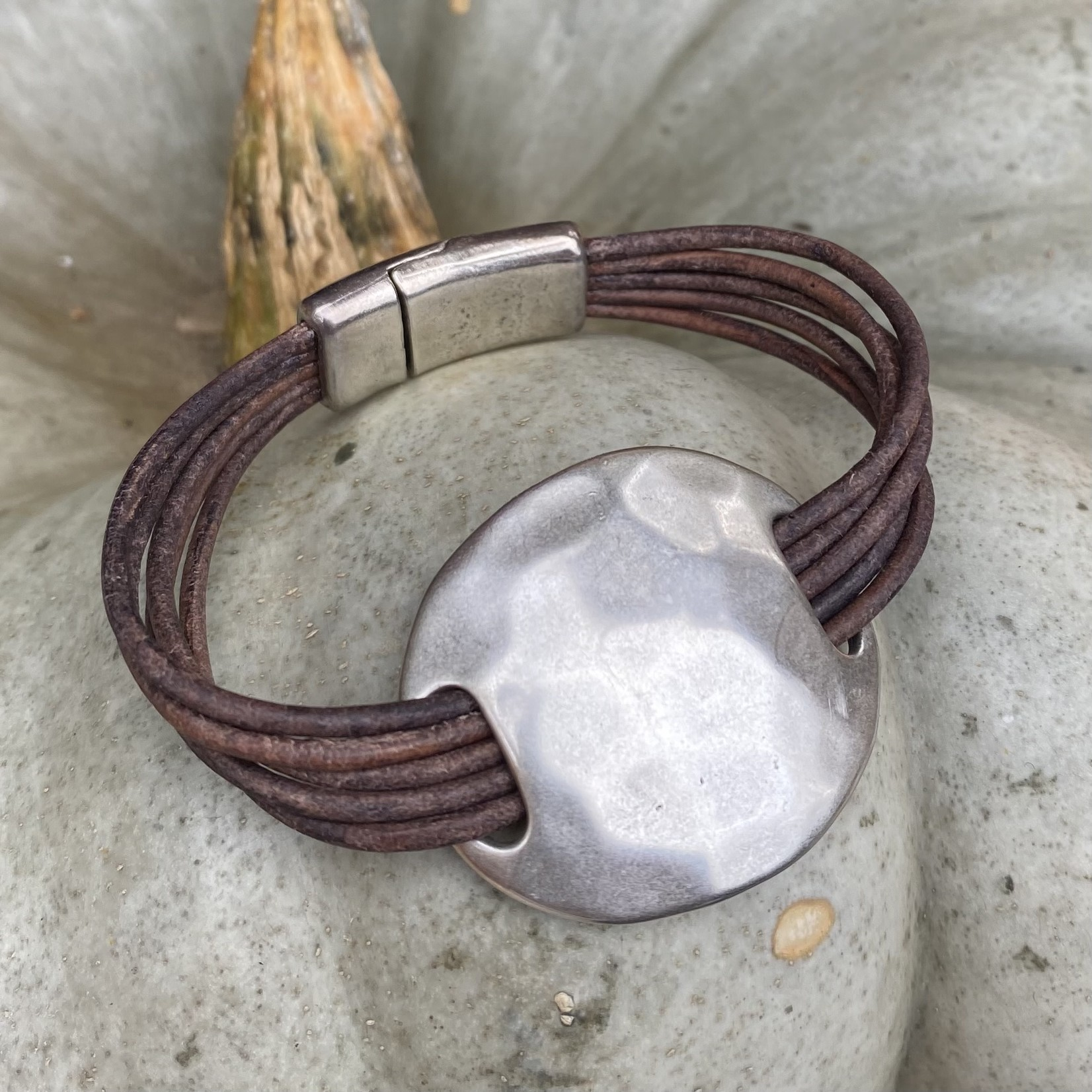 Allie Bonidy Allie B  Brown Leather bracelet with hammered silver circle
