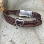 Allie Bonidy Allie B| Brown Leather bracelet with open silver heart