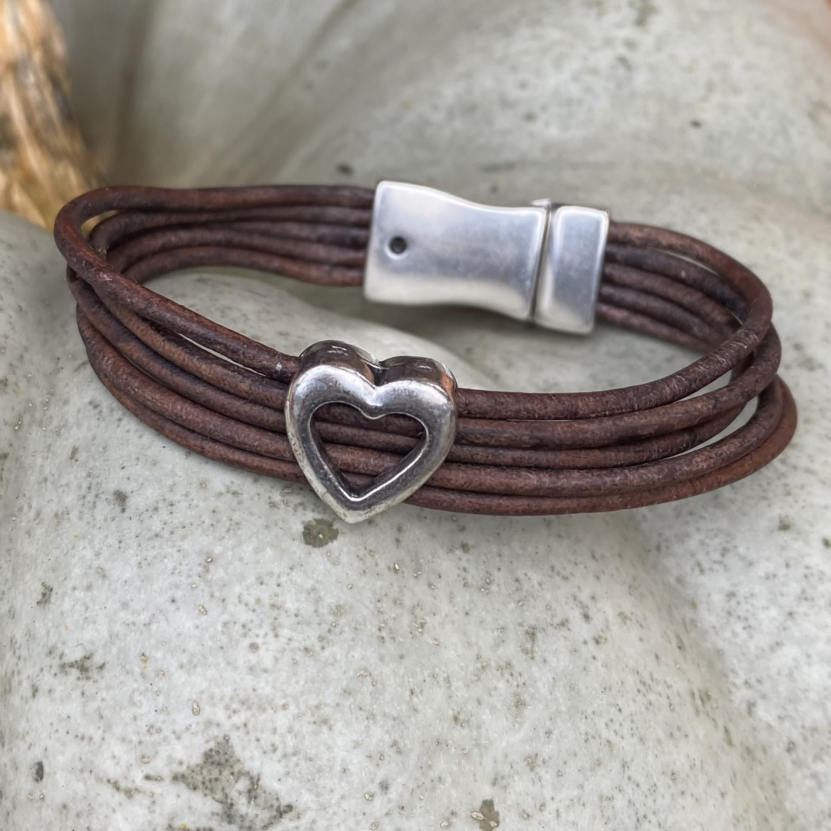 Allie Bonidy Allie B  Brown Leather bracelet with open silver heart