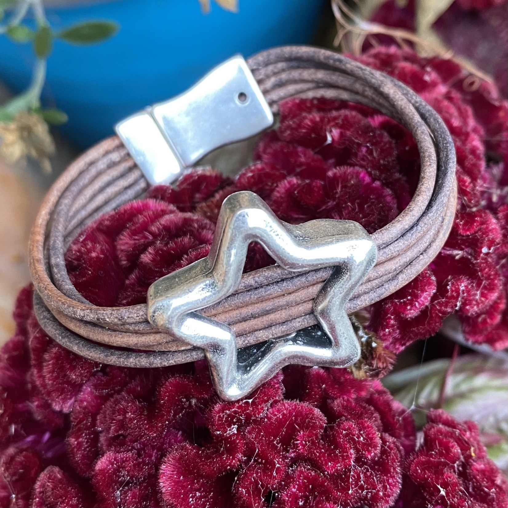 Allie Bonidy Allie B| Brown Leather bracelet with silver star