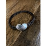 Allie Bonidy Allie B| Brown leather bracelet with si heart clasp