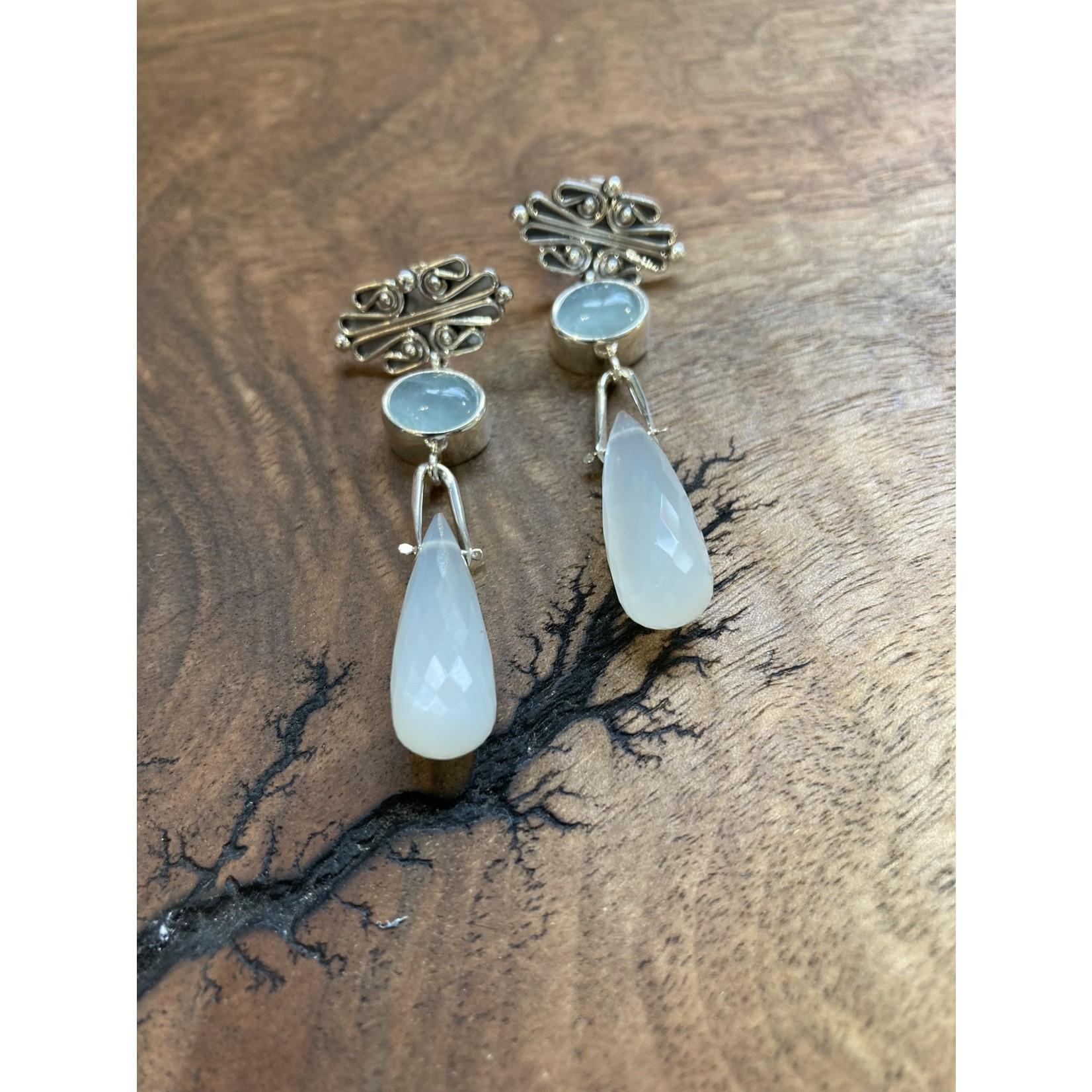 Silverheart Silverheart | E4140 Antonio Escorcia Aquamarine & Moonstone Sterling drop earrings