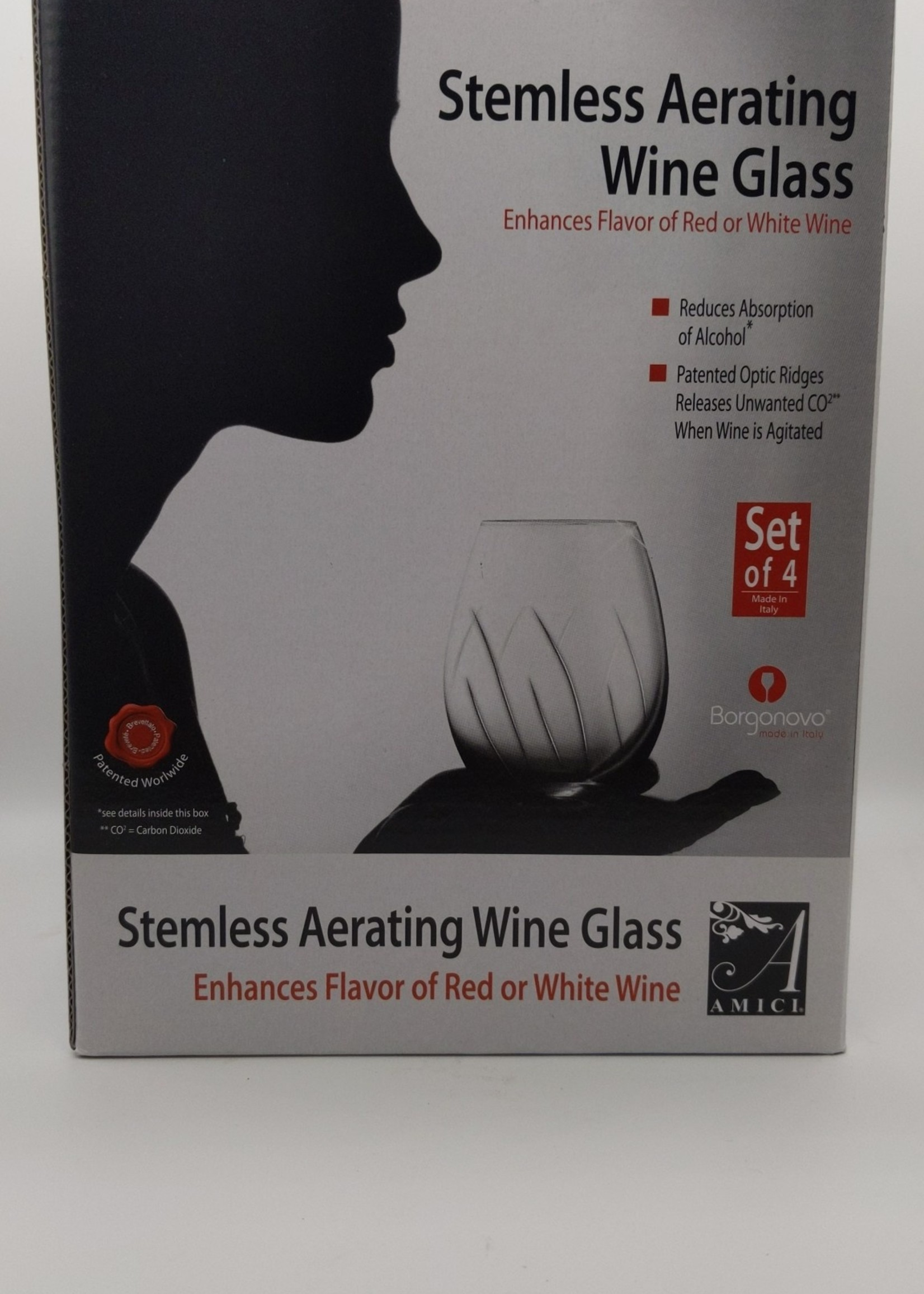 AMICI STEMLESS AERATING WINE GLASSES