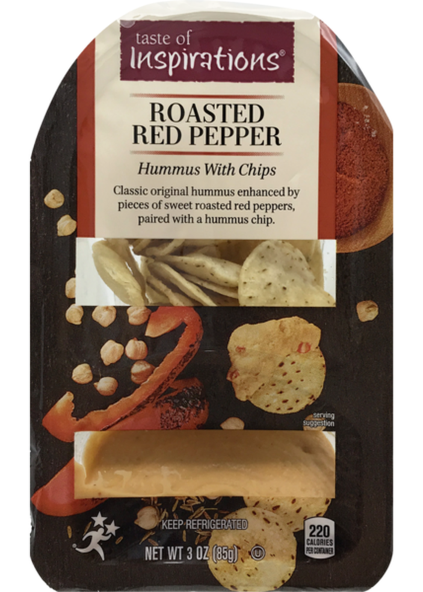 INSPIRATIONS RED PEPPER HUMMUS W/CHIPS