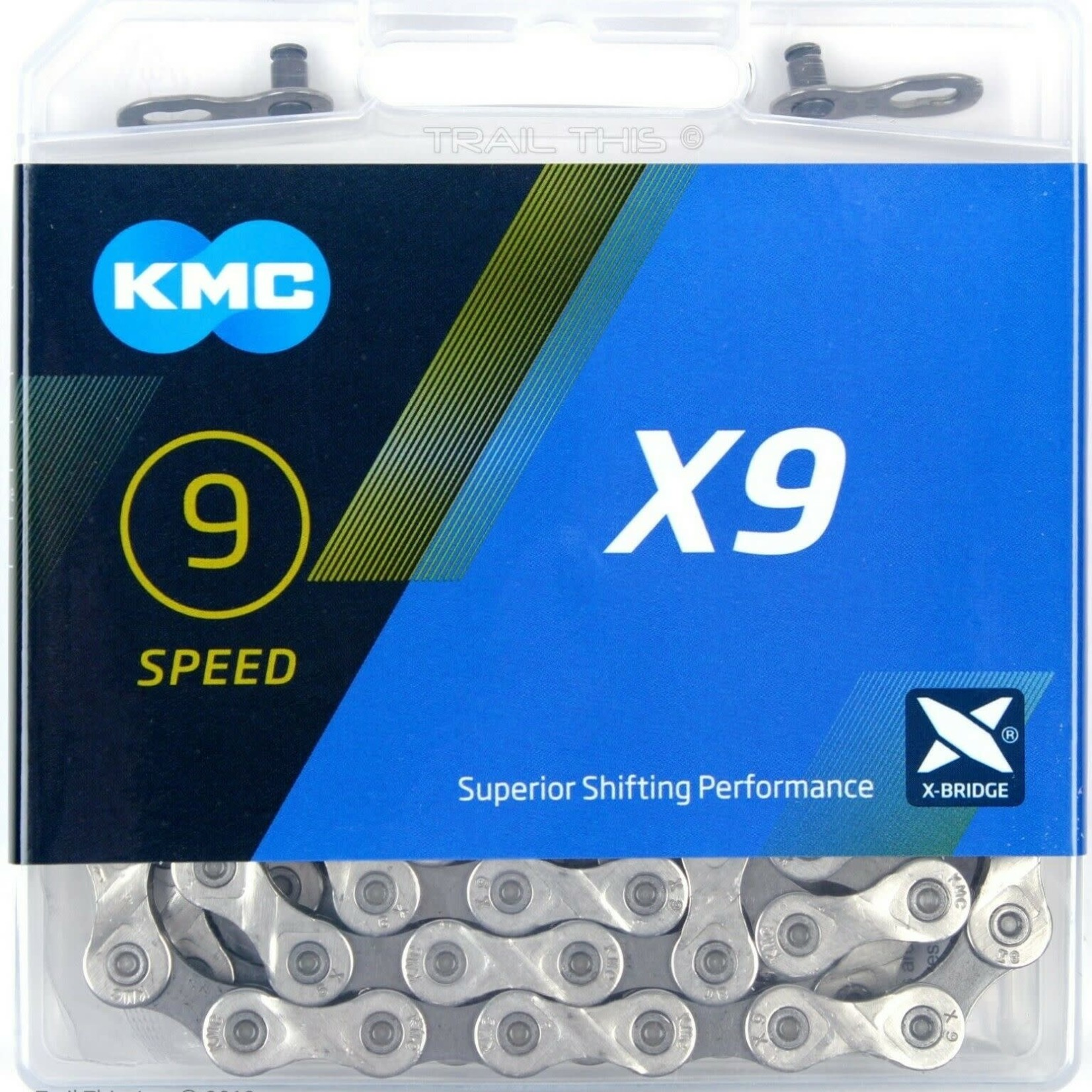 KMC KMC X9.93 Chain - 9-Speed, 116 Links, Silver/Gray