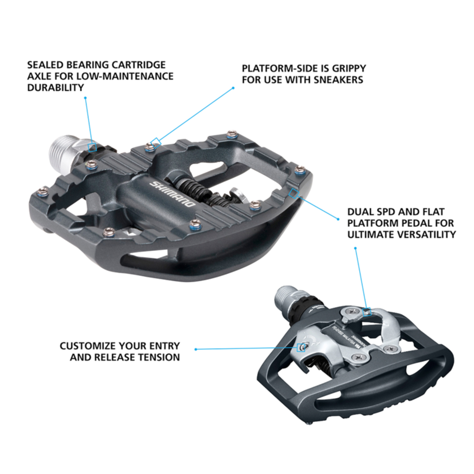 Shimano SHIMANO PD-EH500; SPD Bike Pedals; Cleat Set Included; Dual Sided Platform