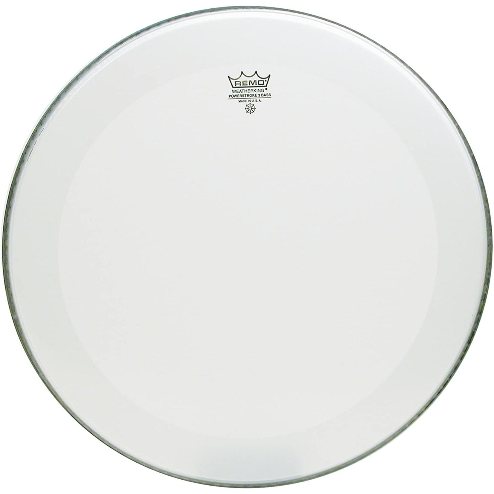Remo Remo Smooth White Powerstroke 3 No Stripe Bass Drum