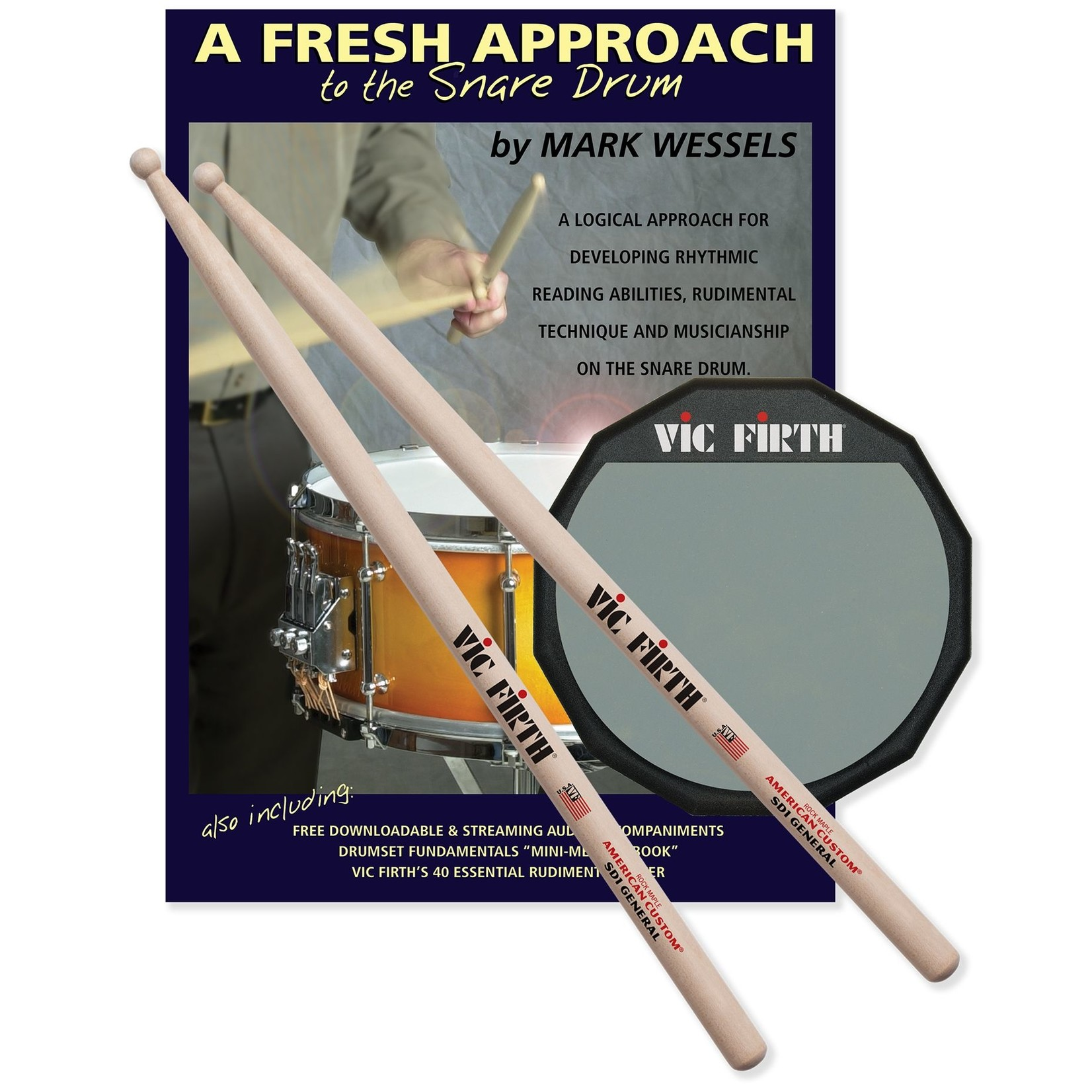 Vic Firth Vic Firth Fresh Approach Starter Pack (includes SD1, practice pad and A Fresh Approach to the Snare Drum)