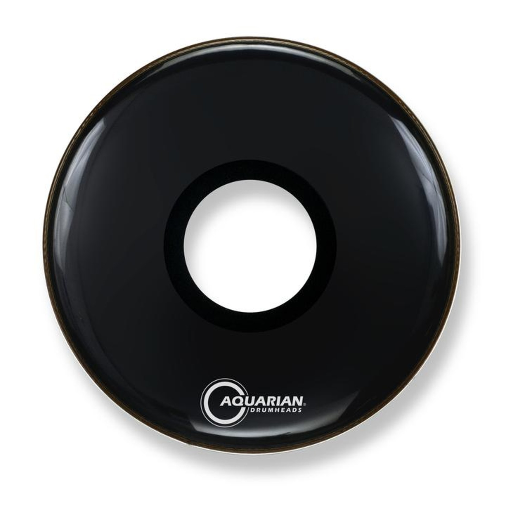 "Aquarian Aquarian Black Video Gloss Bass Drum w/ 7"" Center Port"