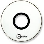"Aquarian Aquarian White Video Gloss Bass Drum w/ 7"" Center Port"