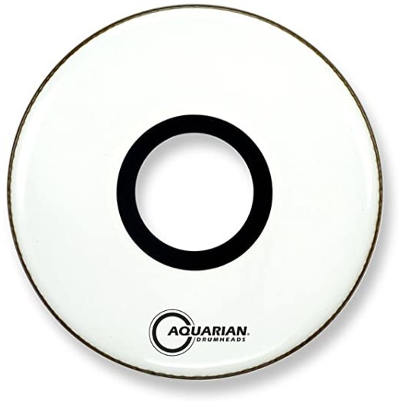 "Aquarian Aquarian White Video Gloss Bass Drum w/ 7"" Center Port"