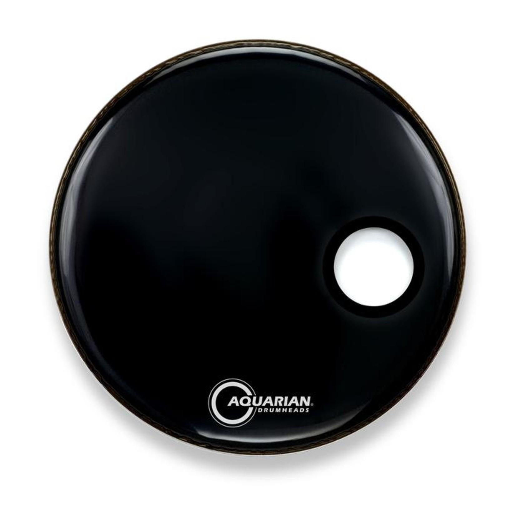 "Aquarian Aquarian Black Video Gloss Bass Drum w/ 4.75"" Offset Port"