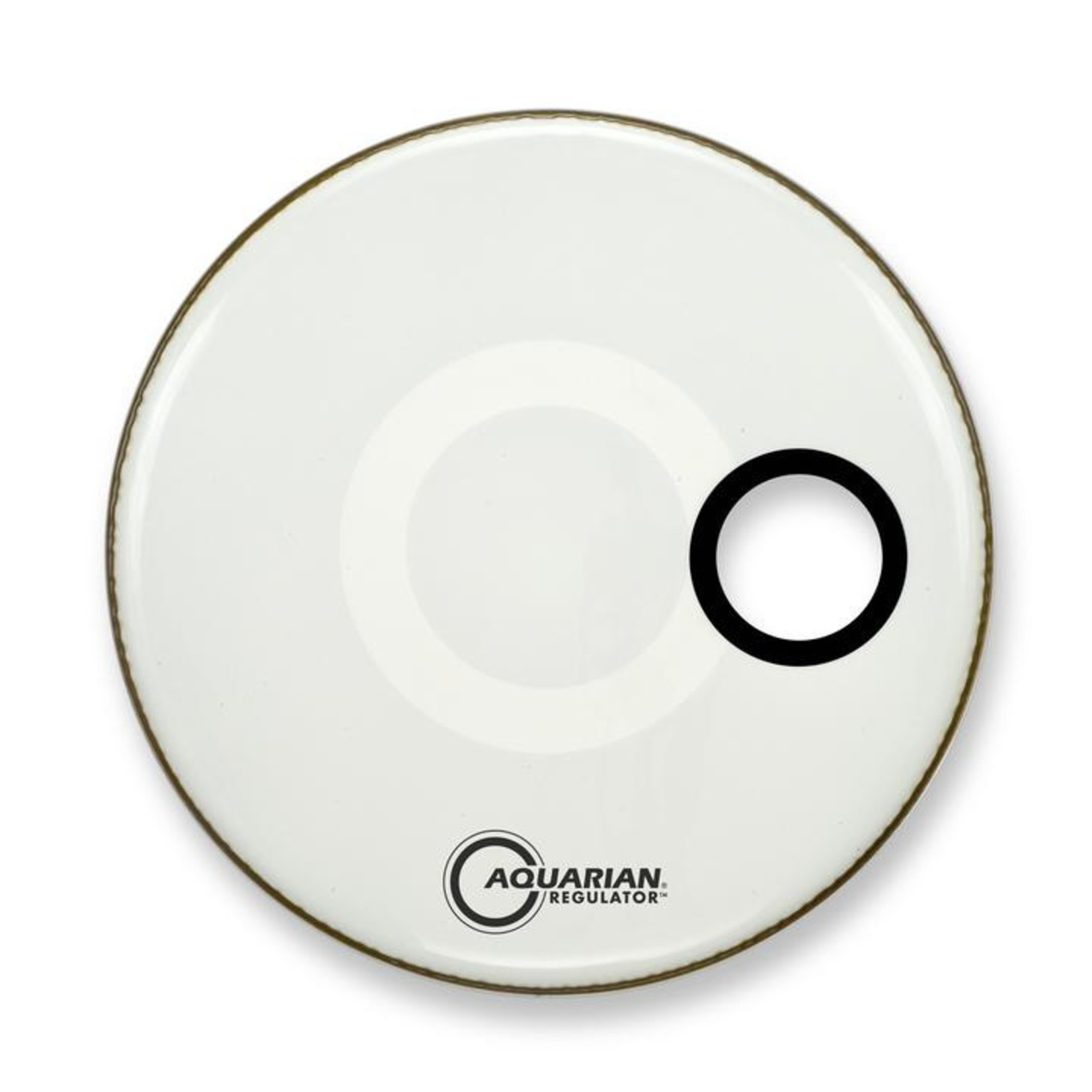 "Aquarian Aquarian Regulator White Video Gloss Bass Drum w/ 4.75"" Offset Hole"