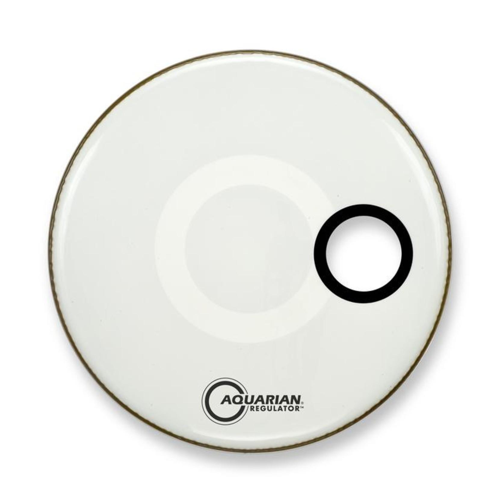 "Aquarian Aquarian Regulator White Video Gloss Bass Drum w/ 4.75"" Offset Hole"