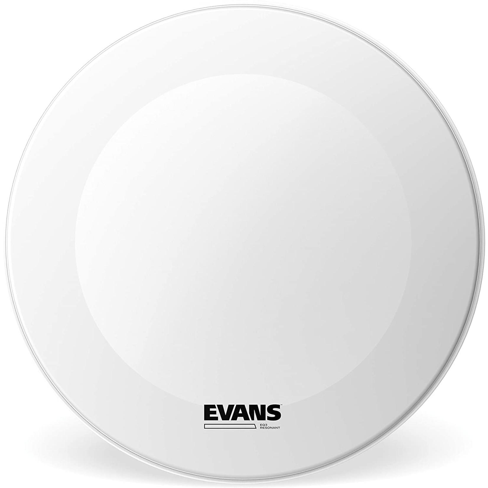 Evans Evans Coated White EQ3 Bass Drum Reso no Port