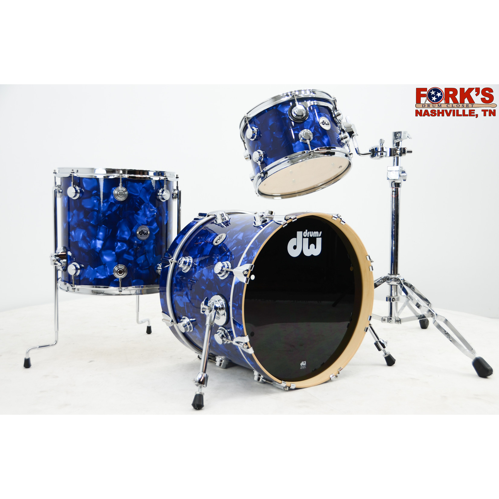 "DW DW Collectors Series 3pc Pure Maple Drum Set ""Blue Moonstone"""