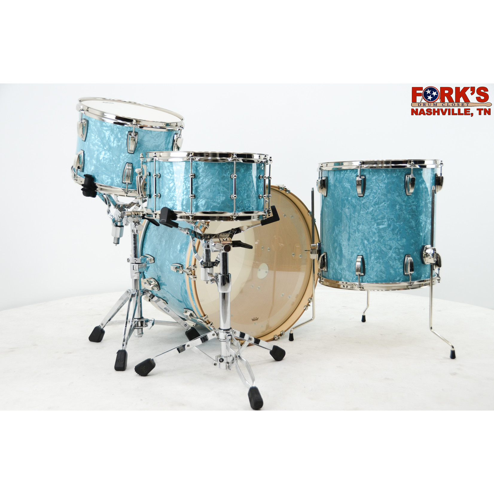 """Ludwig Ludwig Classic Maple 4pc Drum Kit """"Ice Blue Oyster"""" w/ Nickel Hardware"""