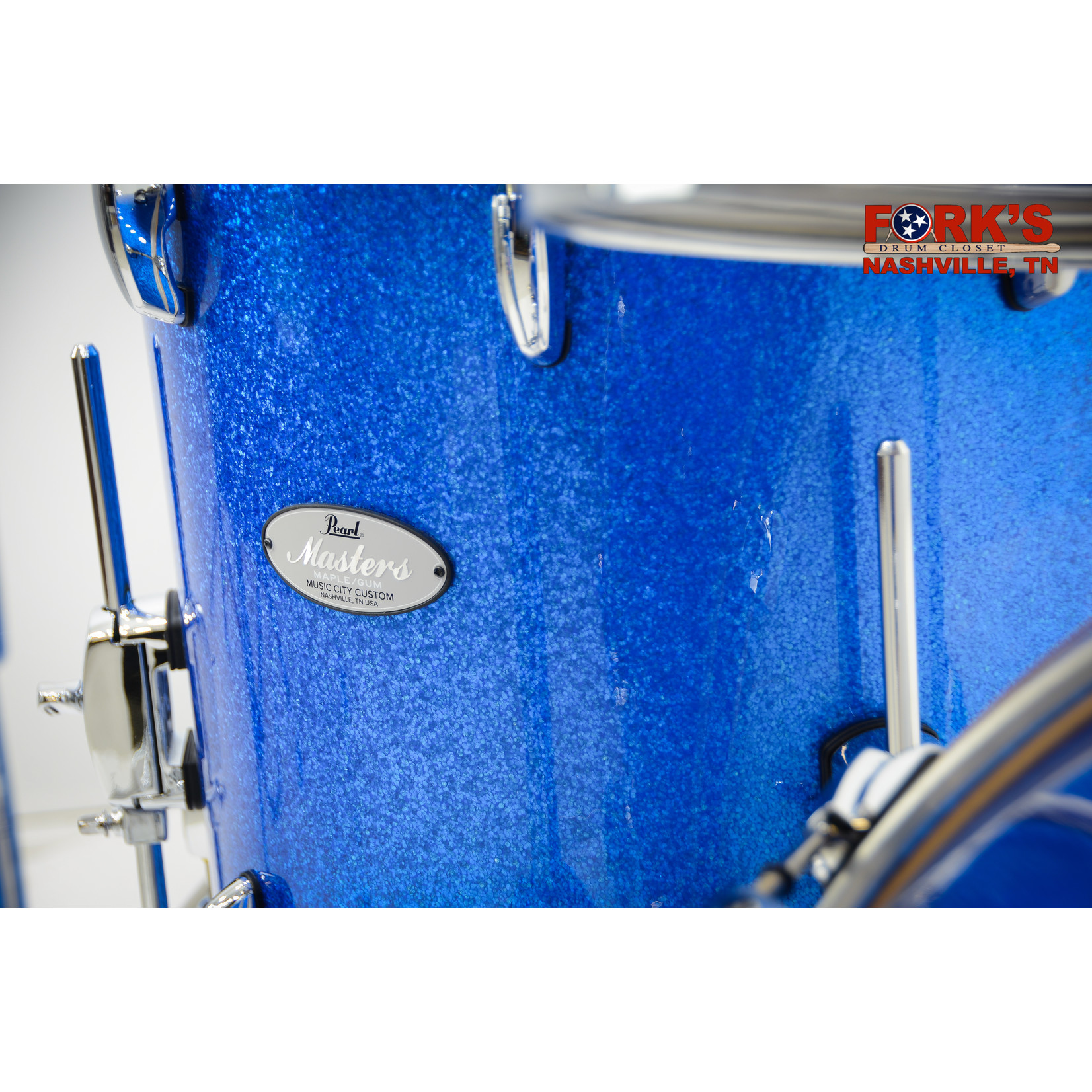 "Pearl Pearl Masters Maple/Gum Music City Custom 5pc Drum Kit ""Vintage Blue Glass"""