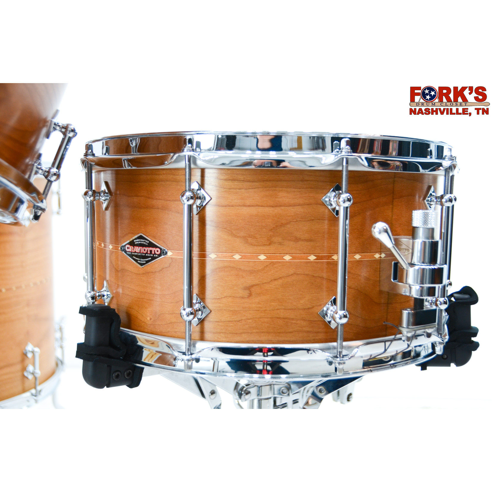 "Craviotto Craviotto 4pc Drum Kit ""Cherry w/ Cherry Inlay"""
