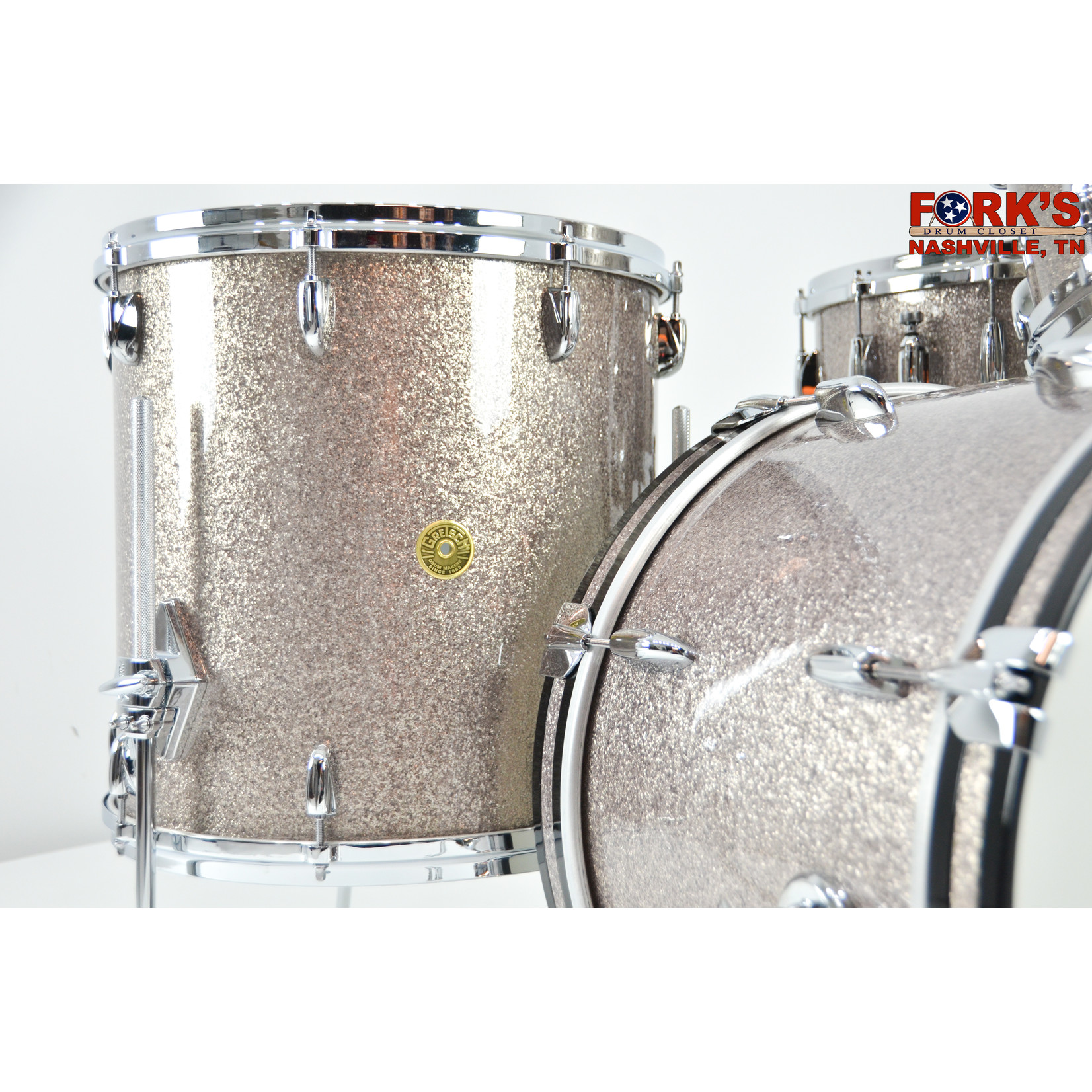 "Gretsch Gretsch USA 4pc Drum Kit ""Pewter Sparkle"""