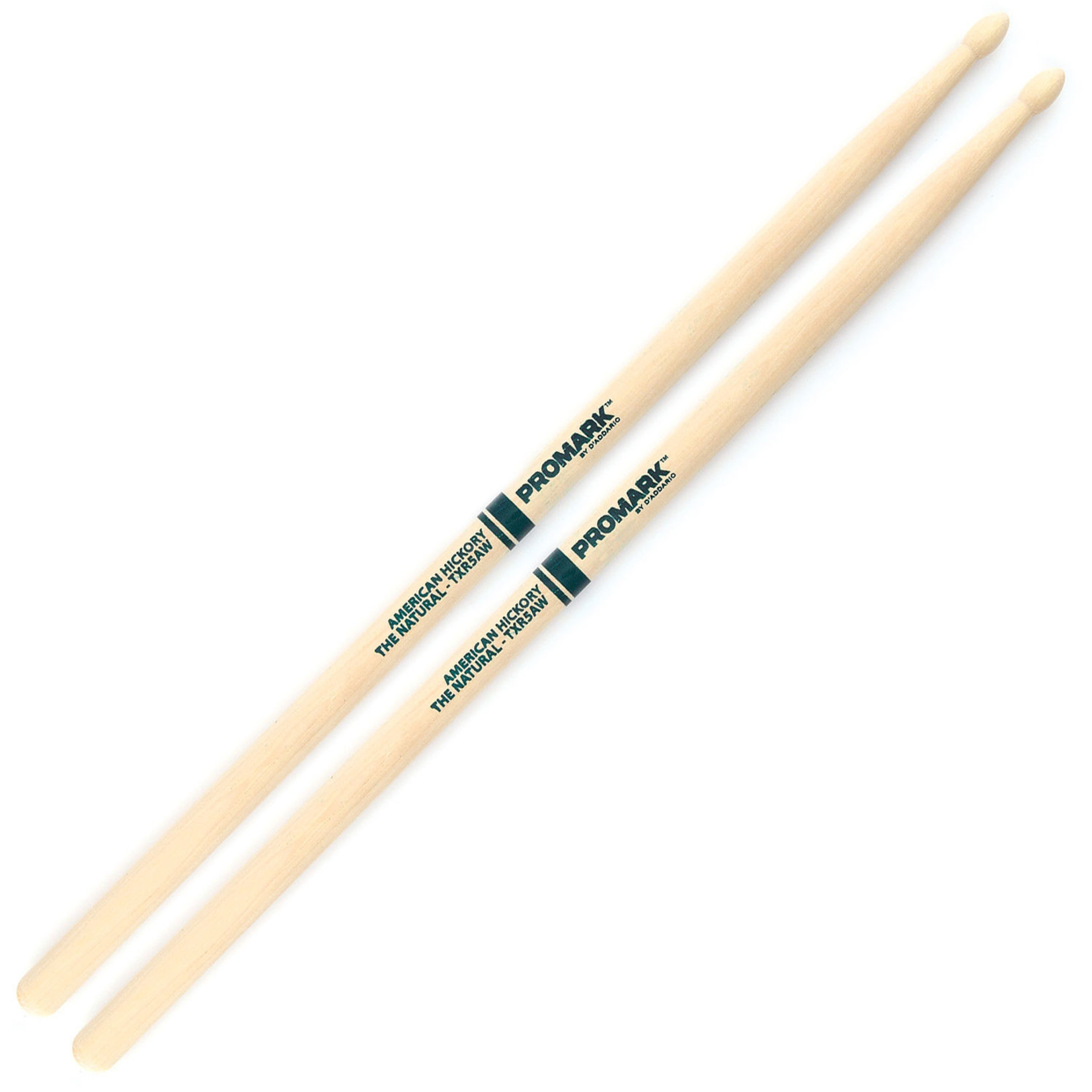 Promark ProMark Classic Forward 5A Raw Hickory, Oval Wood Tip Drumstick