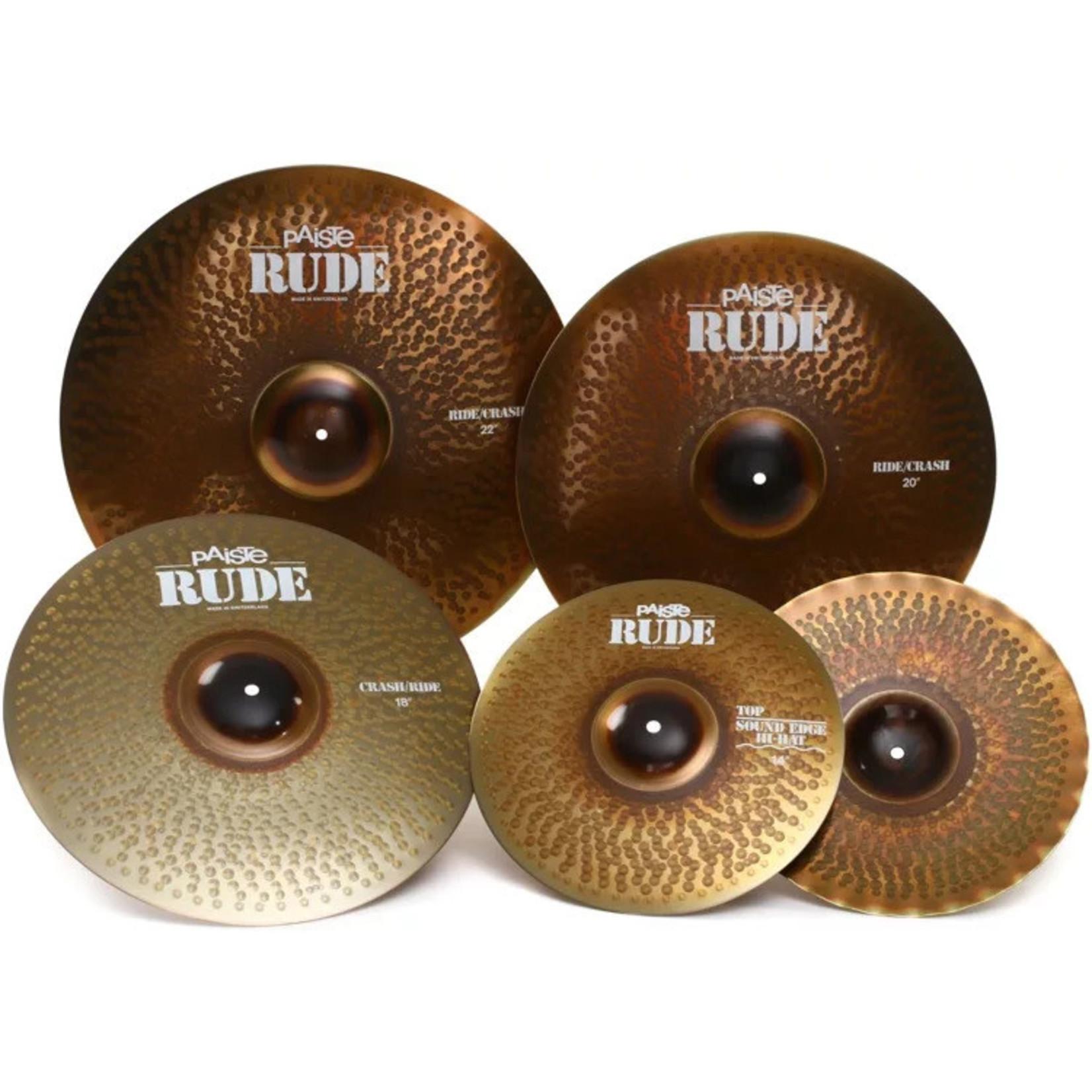 "Paiste Paiste RUDE Cymbal Set - 14""/20""/22"" - With Free 18"" Crash/Ride"