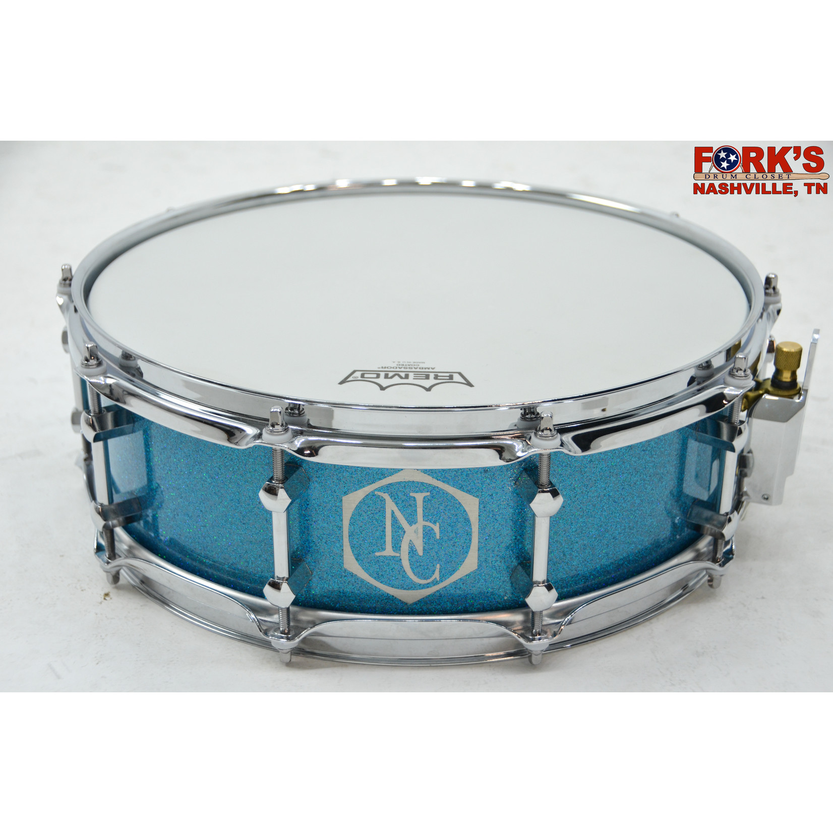 """Noble and Cooley Noble & Cooley Alloy Classic 4.75x14 Cast Aluminum  Snare Drum """"Cairo Blue Sparkle"""""""