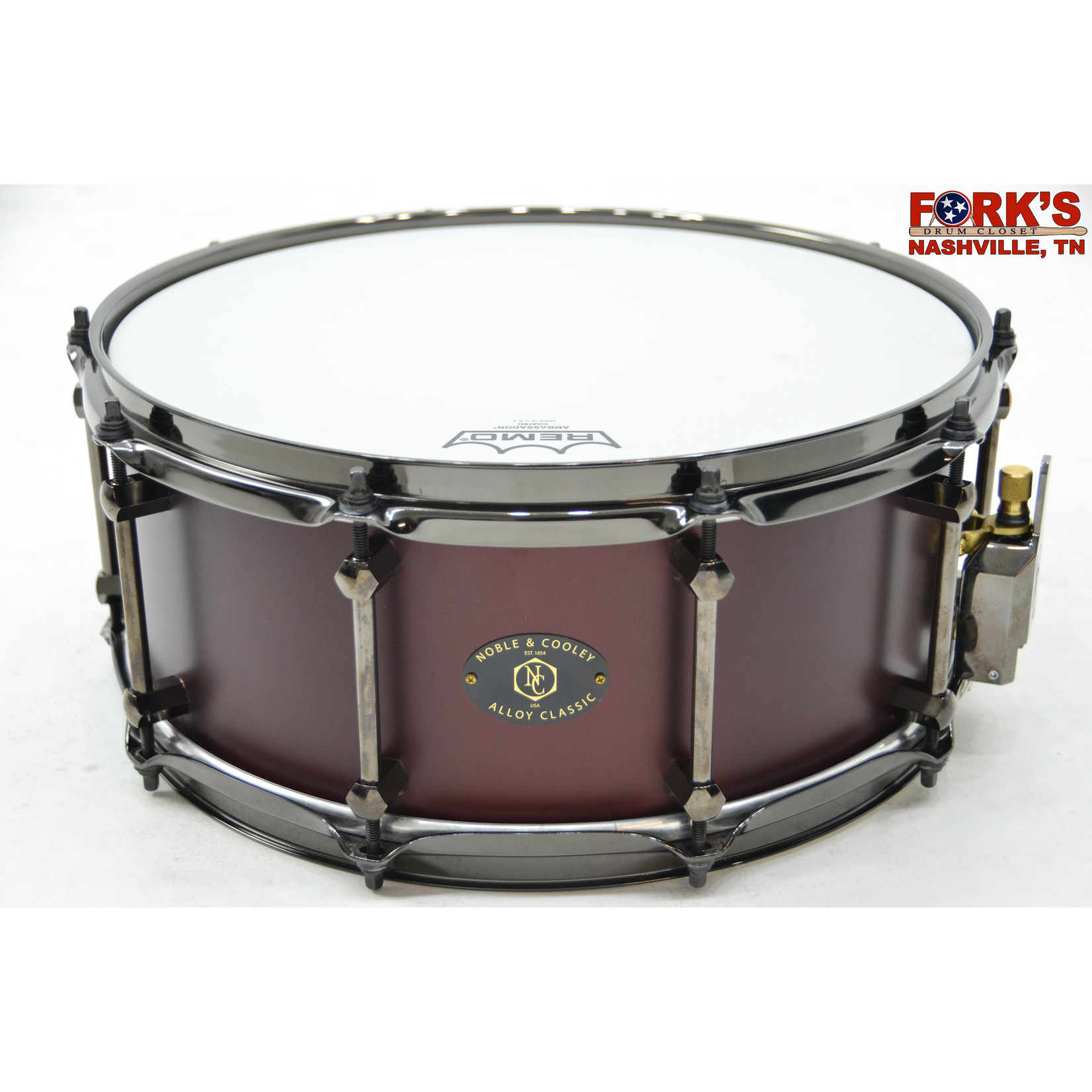 """Noble and Cooley Noble & Cooley Alloy Classic 6x14 Cast Aluminum Snare Drum """"Matte Burgundy"""""""