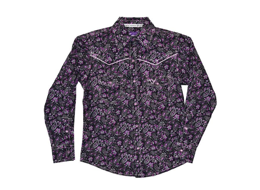 425462-010 Floral Black & Purple