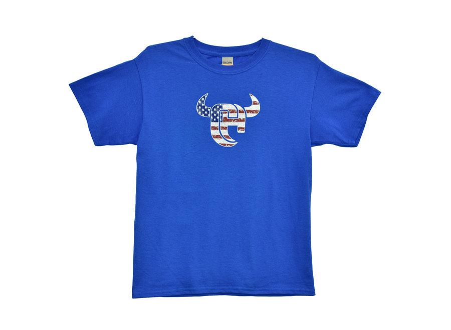 330560-407 Flag Logo Short sleeve blue