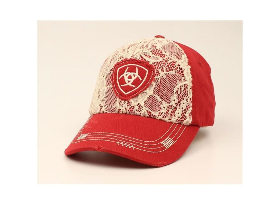 1514809 Red ball cap w/ floral lace front ariat