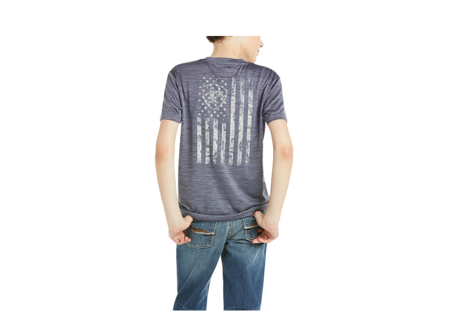 10035179 Charger Flag S/S tee graystone