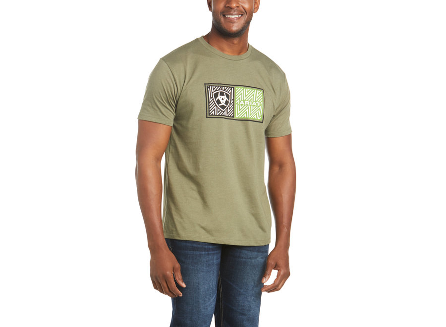 10035628 Ariat Logo military green short sleeve
