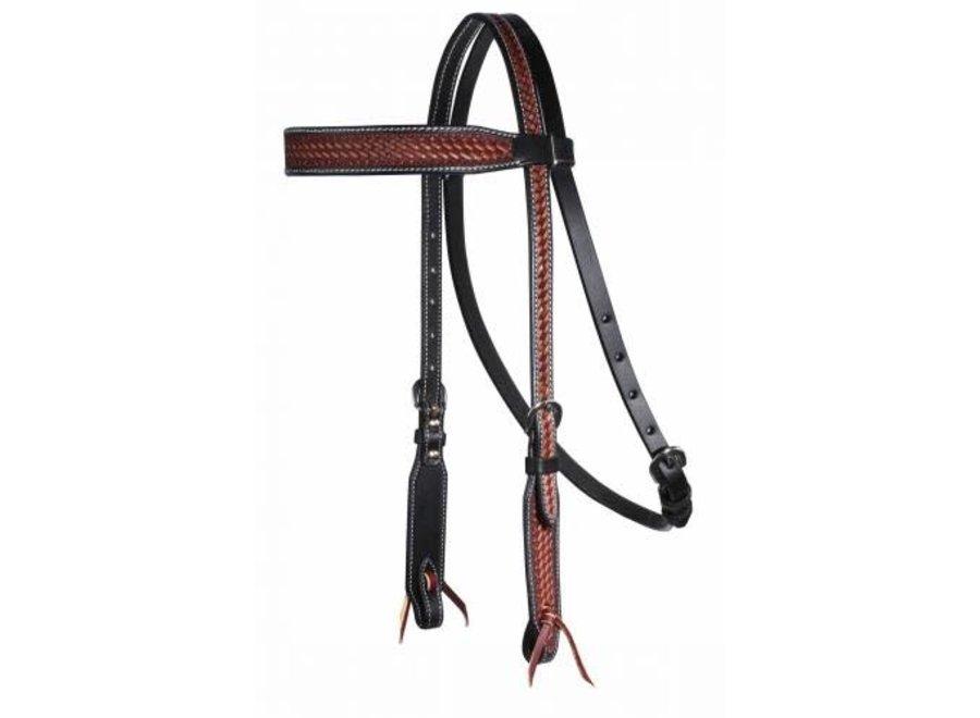 3P4016 Chestnut/Black Basket Browband