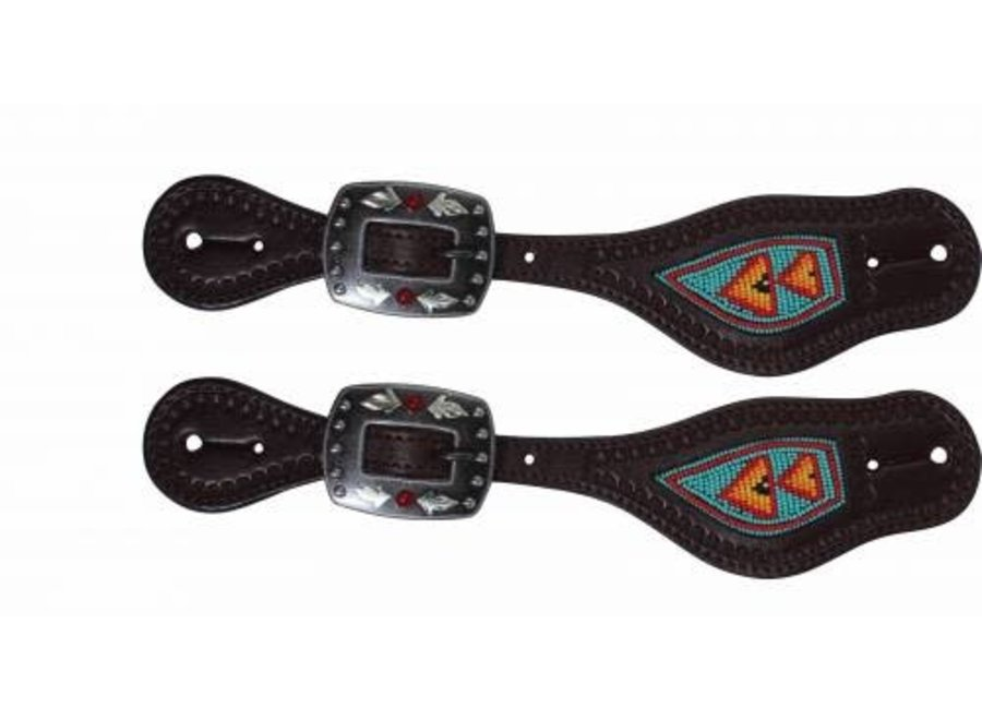 3P9401- Beaded Spur Strap Tur/Red Professional Choice