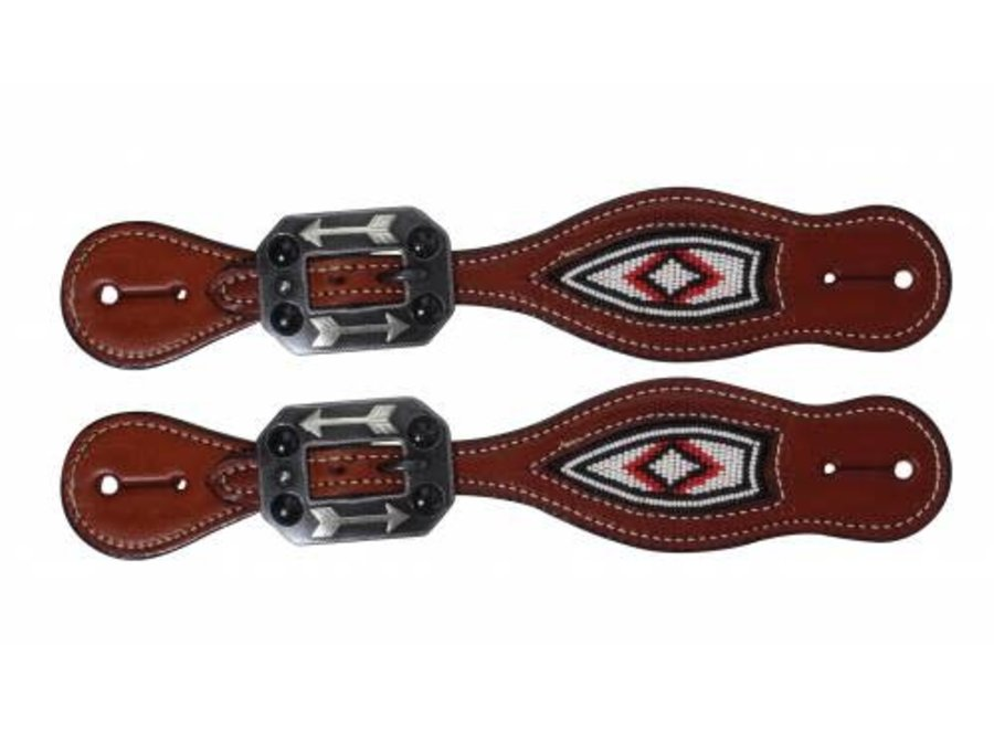 3P9402 Beaded Spur Strap White/Red Professional Choice
