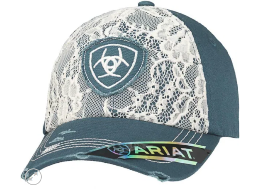 1514827 Blue ball cap w/ floral lace front ariat